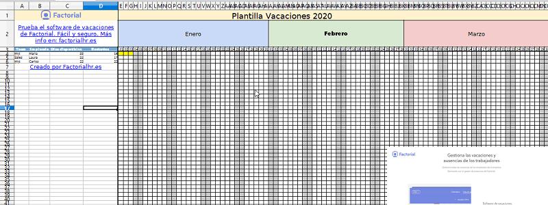 Formato Control De Vacaciones En Excel 2020 Factorial